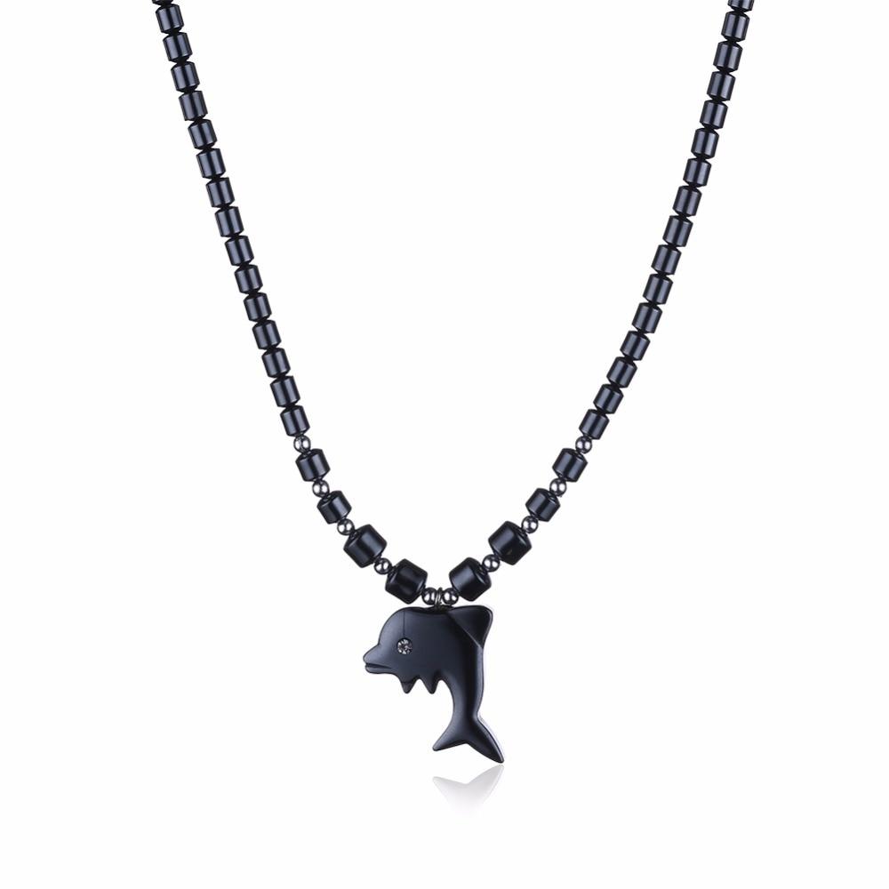 18794fff3 Natural Stone Dolphin Pendant Necklace Punk Rock Pendant Black Necklace  Faux Bone Carving Dolphin Pendant Necklace Amulet