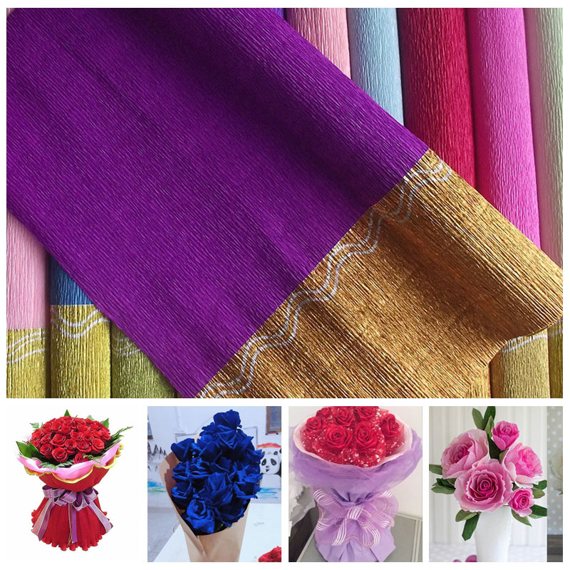 1pc 50 X 250cm Gold Edge Crepe Paper Flowers Wrapping Diy