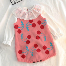 Baby Bodysuit Girl New Rainbow Cherry Baby knit Rompers Princess Newborn Baby Clothes Kids Girls Jumpsuit Infant knit Overalls(China)