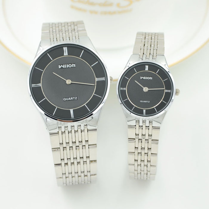 WILON Brand Woman Man Couple Simple Leisure Business Watches Full Stainless Steel Watches Watch Elegant Quartz Watch 2 Pin Clock
