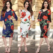 RUIYIGE 2017 Summer Vintage Rose Print Dress Sexy V-neck Women Summer Dress Vestidos Bodycon Slim Pencil Dress Plus Size Dresses
