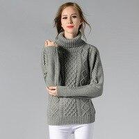 BerylBella Winter Women Casual Sweater Retro Pullover Vintage Solid White Retro Geometric Ladies Argyle Tops Turtleneck