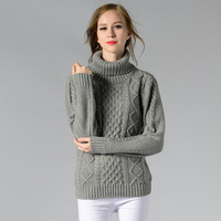 BerylBella Winter Women Casual Sweater Retro Pullover Vintage Solid White Retro Geometric Ladies Argyle Tops Turtleneck
