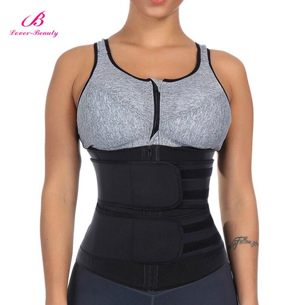 Lover-Beauty Neoprene Body Shaper Belly Slimming Belt Compression Zipper Plus Size Waist Trainer Cincher Corset Underbust Fajas
