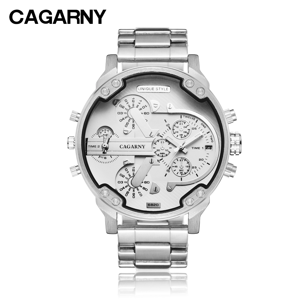 cagarny mens watches quartz watch men dual time zones big case dz military style 7331 7333 7313 7314 7311 steel band watches free shipping (4)