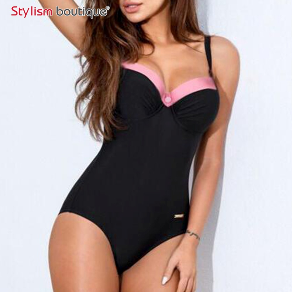 2017 Black One Piece Swimsuit Vintage Swimwear Women Push Up Bodysuit Solid Patchwork Beachwear Retro Plus Size Bathing Suit xxxl one piece swimsuit push up plus size swimwear famale 2017 black backless bodysuit summer beachwear bathing suits monokini