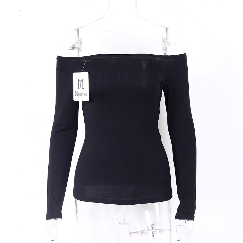 HTB1bJu.RFXXXXXaXVXXq6xXFXXXY - Off Shoulder Tops Women New Arrivals Long Sleeve Cotton T shirt Women Casual Slim Fit Female T-shirt Sexy Tee Shirts Black