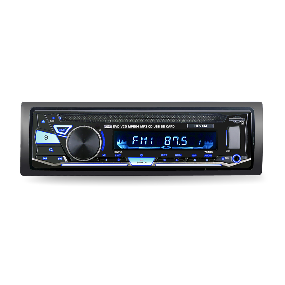 Universal Bluetooth 1 Din Built-in BT + Microphone 60W*4 Support hands-free calls CD player / DVD 7010B