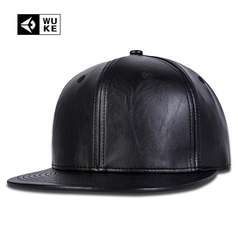 Simple Plain Black Snapback Hats Nice Leather Baseball Caps Snapbacks Hip-Hop Music Fashion Gorras Bone Aba Reta For Mens Womens