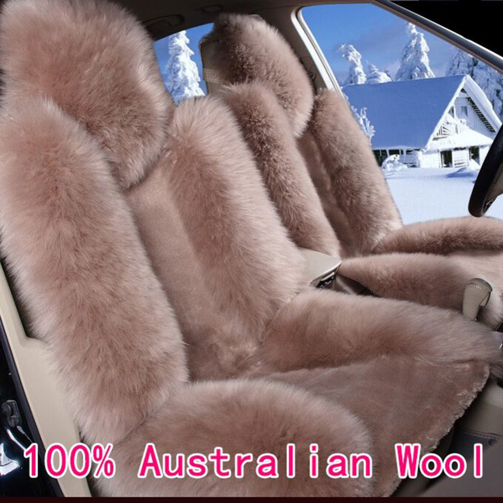 KAWOSEN 1 pair 100 Australian Pure Natural Wool Seat Cover for Front Seat 12 Colors Winter