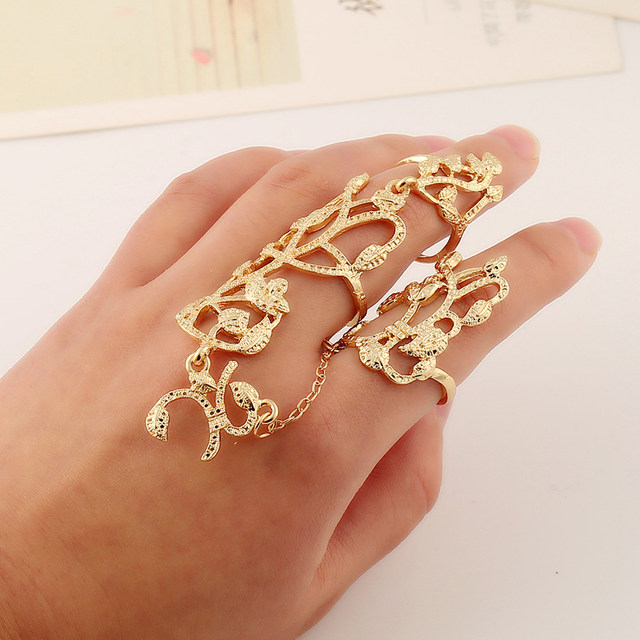 line Shop 2016 Fashion Simple Metal Leaf Flower Gold Ring Set