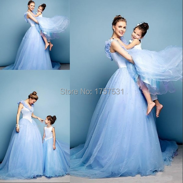 Newest Cinderella Prom Dresses Mother Daughter Matching Blue Ball Gown V Neck Cap Sleeves Wedding Party Custom In Evening From