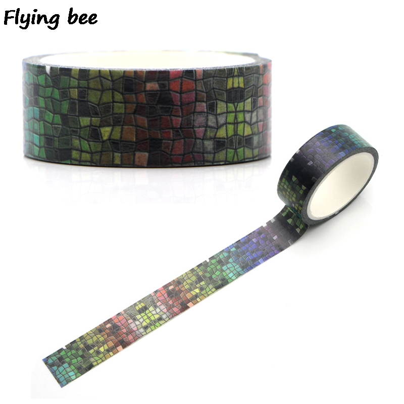 Flyingbee 15mmX5m Paper Washi Tape Laser Grid Creative Adhesive Tape DIY Scrapbooking Sticker Unique Label Masking Tape X0331