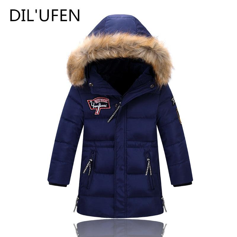 DIL'UFEN Winter Jacket Kids  Boys Winter Long Down Jackets Outerwear Coats Big Fur Collar Thick Warm White Duck Down Boys Parka