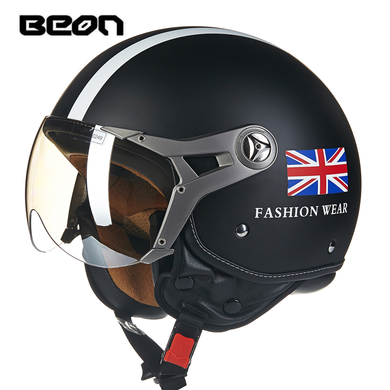 Fashion BEON half helmet Vintage scooter open face helmet British flag motorcycle helmet ECE approved Union jack moto casco