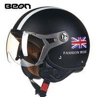 Fashion BEON half helmet Vintage scooter open face helmet British flag motorcycle helmet ECE approved Union jack moto casco
