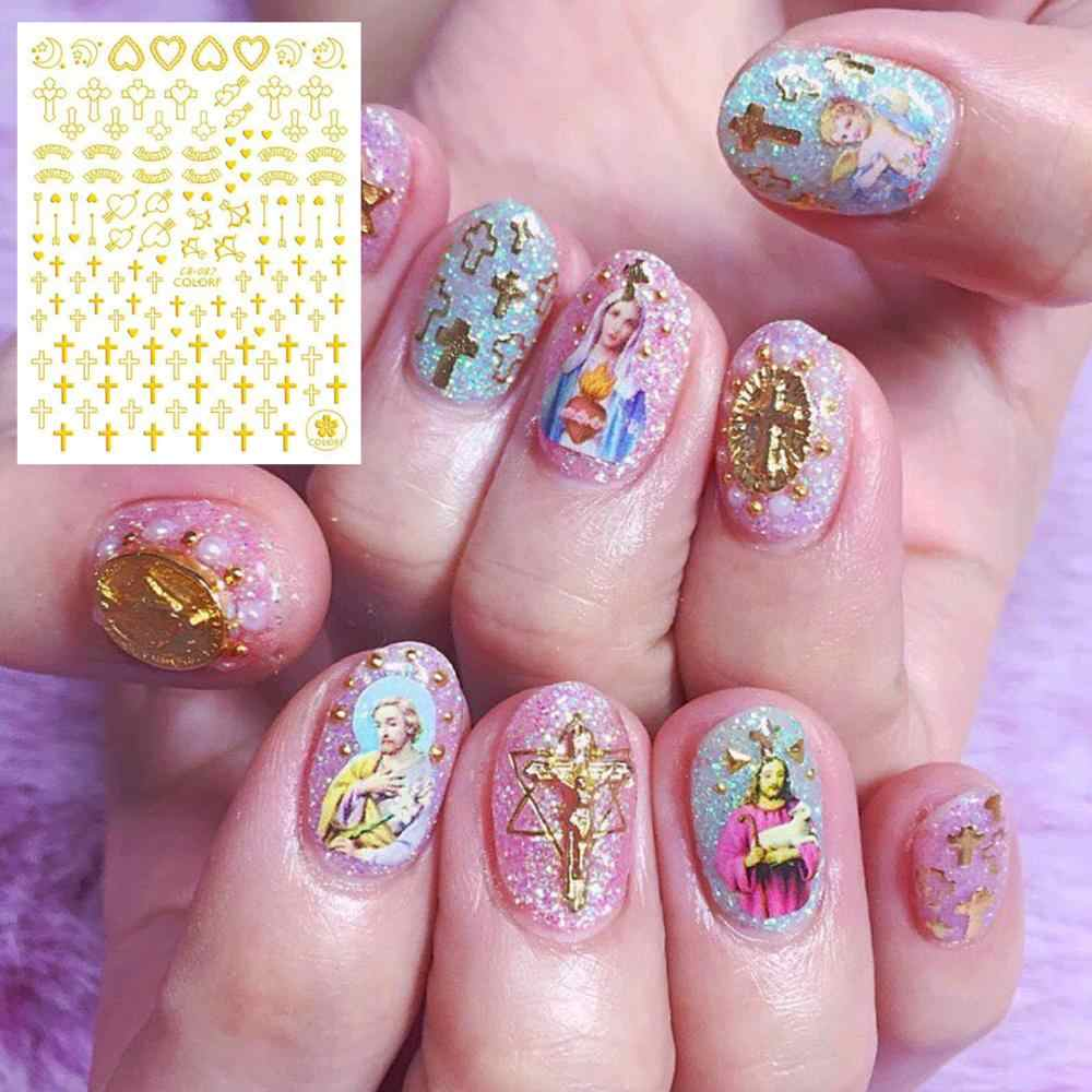 Cb Serie Cb-87 Kruis Shell Hart Zwart Wit Goud Zilver Letters 3d Nail Art Stickers Decal Template Diy nail Tool Decoraties