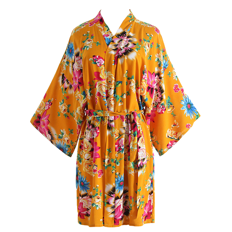 Women Wedding Robes Print Flower Kimono Bathrobe Gown Sexy V-Neck Spa Sleepwear Bride Bridesmaid Dressing Nightgown One Size