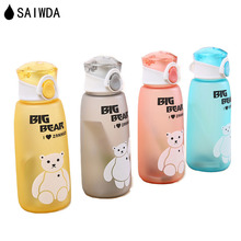 ФОТО saiwda 380ml-500ml new student sports outdoor colorful portable water bottle children cartoon frosted plastic kettle
