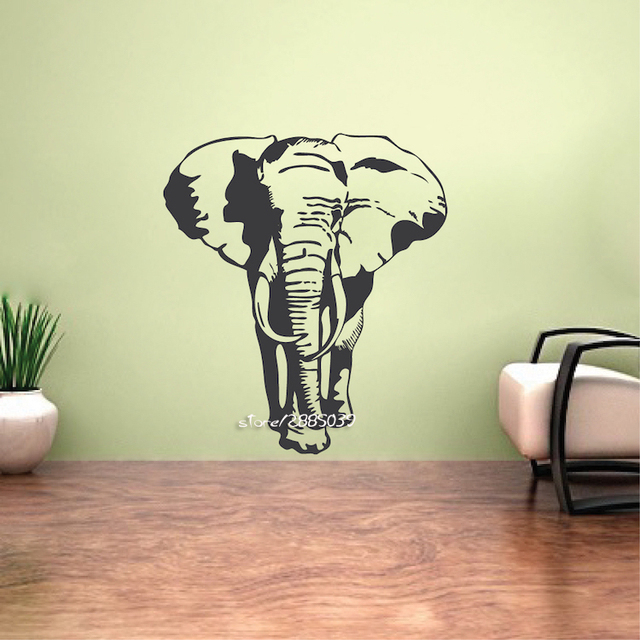 Classic Retro Elephant Wall Stickers Art Mural Wall Sticker Removable Vinyl  Home Decor Elephant Decals Artistic