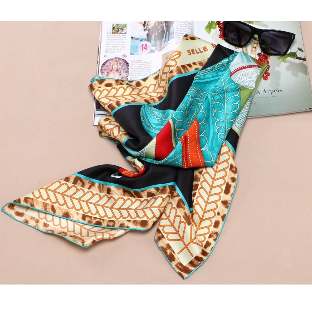 Leopard Print 100% Silk Twill Scarf Wraps Large Square Silk Scarfs Shawl Foulard Hijab 88x88cm Hand Rolled Edges