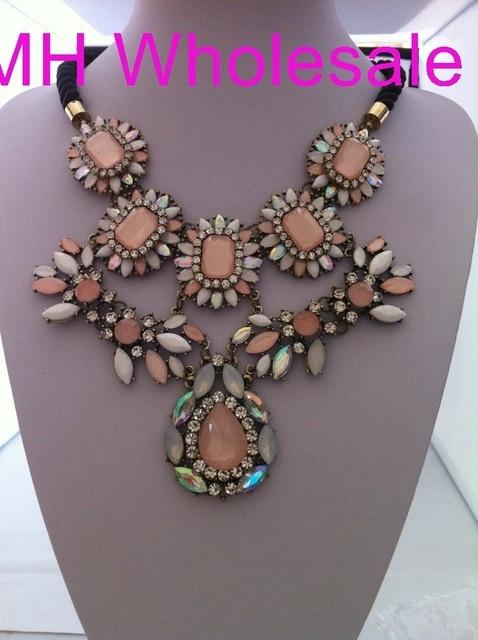 OMH WHOLESALE 1 UNIDS 2013 NUEVA Europa Style fashion exagerado flor de cerezo polvo capas collares cristalinos XL690