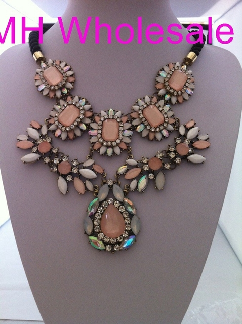 OMH Wholesale 1 PCS 2013 NEW Europe Style fashion exaggerated  Cherry blossom powder layers crystal necklaces XL690