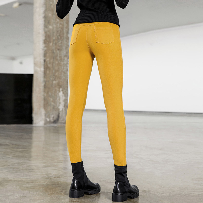 Solid high waist elastic slim jeans pants 2018 new women autumn pencil long pants