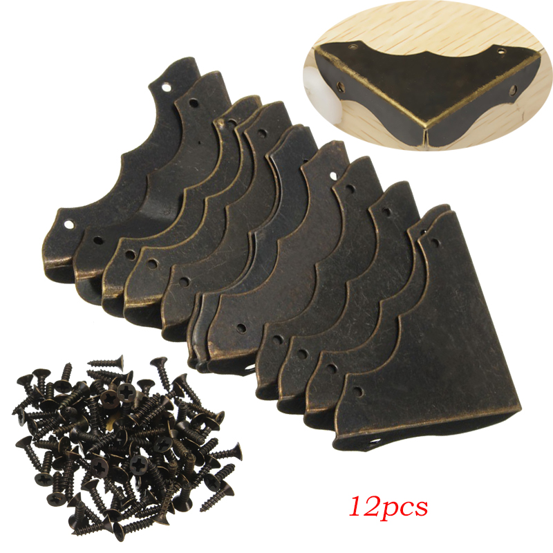 High Quality 12pcs Decorative Antique brass Jewelry Wine Gift Box Wooden Corner Protector Guard