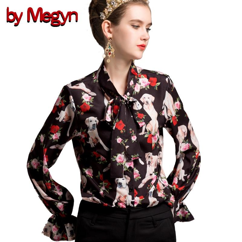 by Megyn women shirts flare long sleeve shirt dog print shirt women blouses plus size 3xl 2018 new feminine shirts blusas