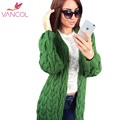 Vancol Plus Size Knit Cardigan 2016 Autumn Winter Thick Warm Long Sweater Coat Women Casual Loose Twist Sweaters Jacket Mujer