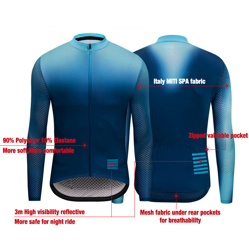 Mens Cycling Jersey Long Sleeve Maillot Ciclismo High Quality MTB Bike Shirt Gradient Color Downhill Jersey 2019 Bicycle Jersey in Cycling Jerseys from Sports Entertainment
