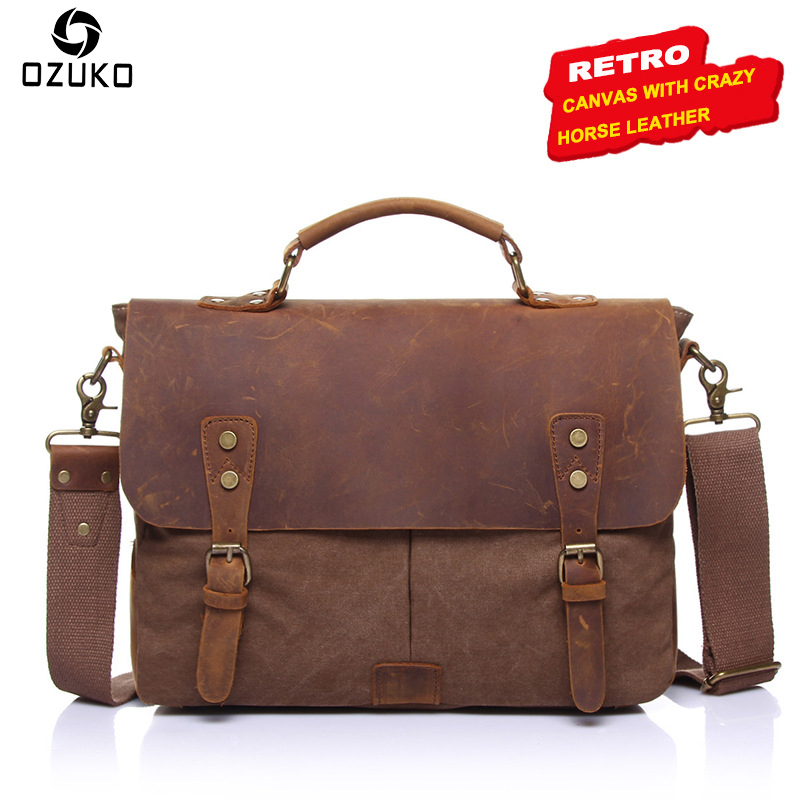 OZUKO Men's Messenger Bag Canvas Men Bag Fashion Laptop Shoulder Bag Tote Vintage Crazy Horse Leather Crossbody Men's Briefcase augur men s messenger bag multifunction canvas leather crossbody bag men military army vintage large shoulder bag travel bags