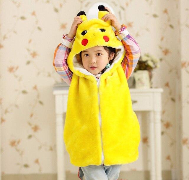 Мода без рукавов zip мальчиков и девочек костюмы осень-зима дети pokemon капюшоном дети жилет меховой