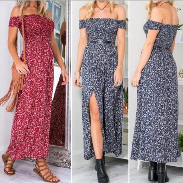 Sexy Strapless Beach Summer Dress Sundresses Vintage Bohemian Maxi Dress Robe Femme Boho Floral Women Split Long Dresses Vestido