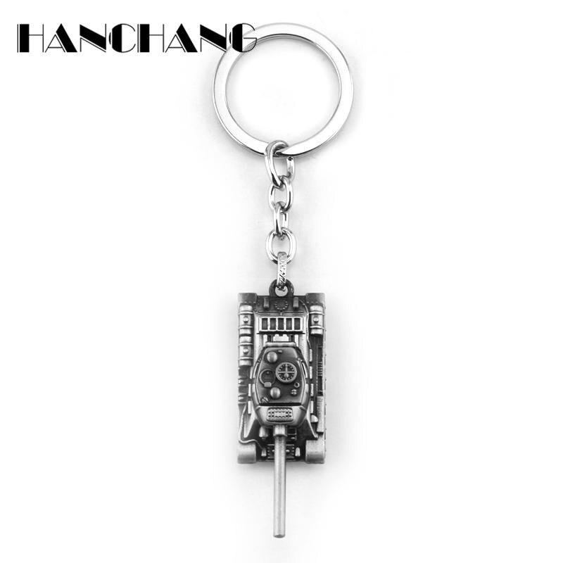 Personality World Of Tanks Key chain Jewelry Handmade Metal Key Creative Car Keychain Jewelry Game Key Holder Souvenir Llaveros