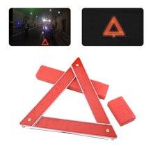 DWCX Car Red Foldable Reflective Warning Triangle Frame Emergency Breakdown Safety Hazard Travel Kit for VW Audi BMW Honda