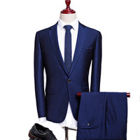 Will Code Business Affairs Man's Suit Male Korean Self cultivation Twinset Correct Dress Groom Marry Full Dress Suit Male Tide