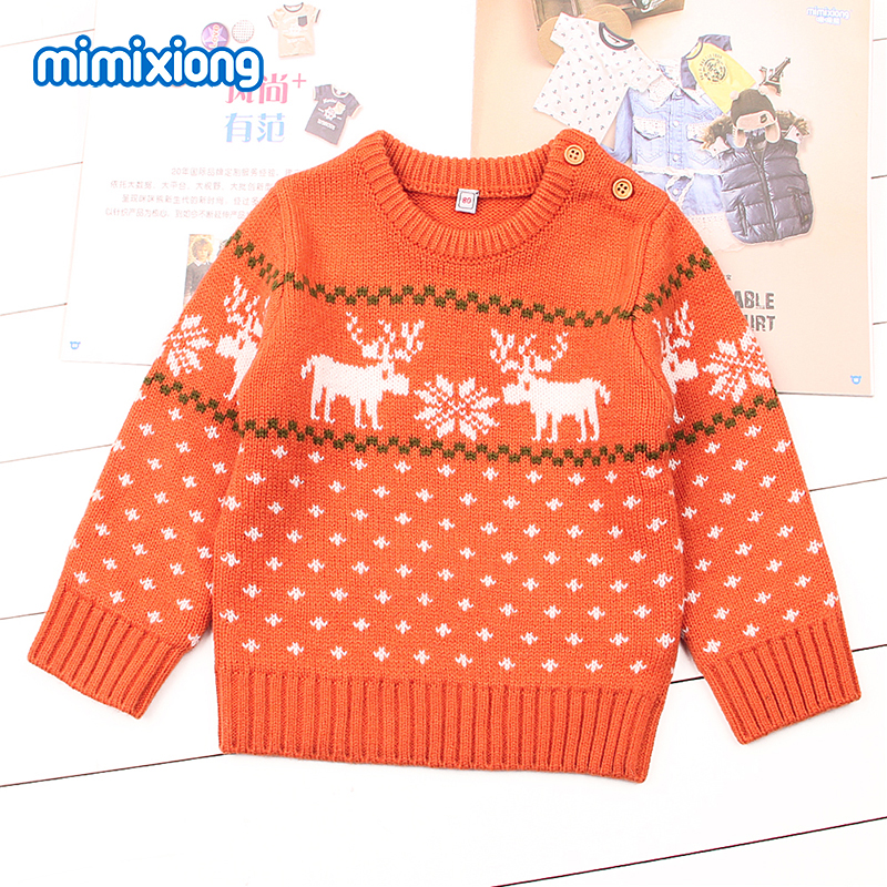 Winter Warm Sweater For Girls Christmas Deer Knitting Pullovers Autumn Outerwear Newborn Baby Boys Jumper Long Sleeve Childrens
