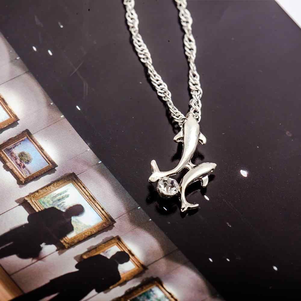 Collares colgantes de cristal doble delfín para mujer Collar de plata de moda