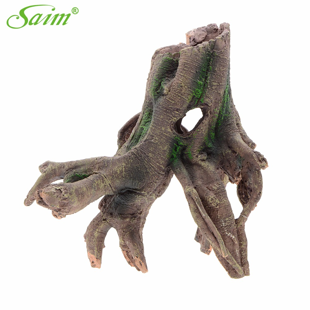 "11 ""Saim Resin Stylish Driftwood Aquarium Fish Tank Tree Root Decoration Acuario Aquarium Aquarium Ornament ყალბი ხის დეკორაციები"
