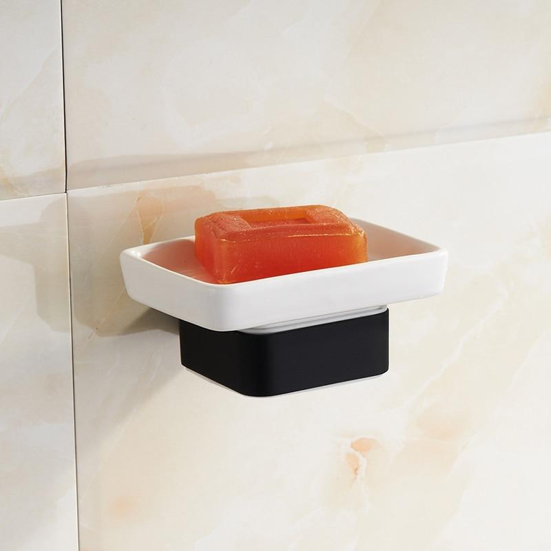 Black soap holder bathroom ceramic dish wall mounted - Wall mounted ceramic bathroom accessories ...