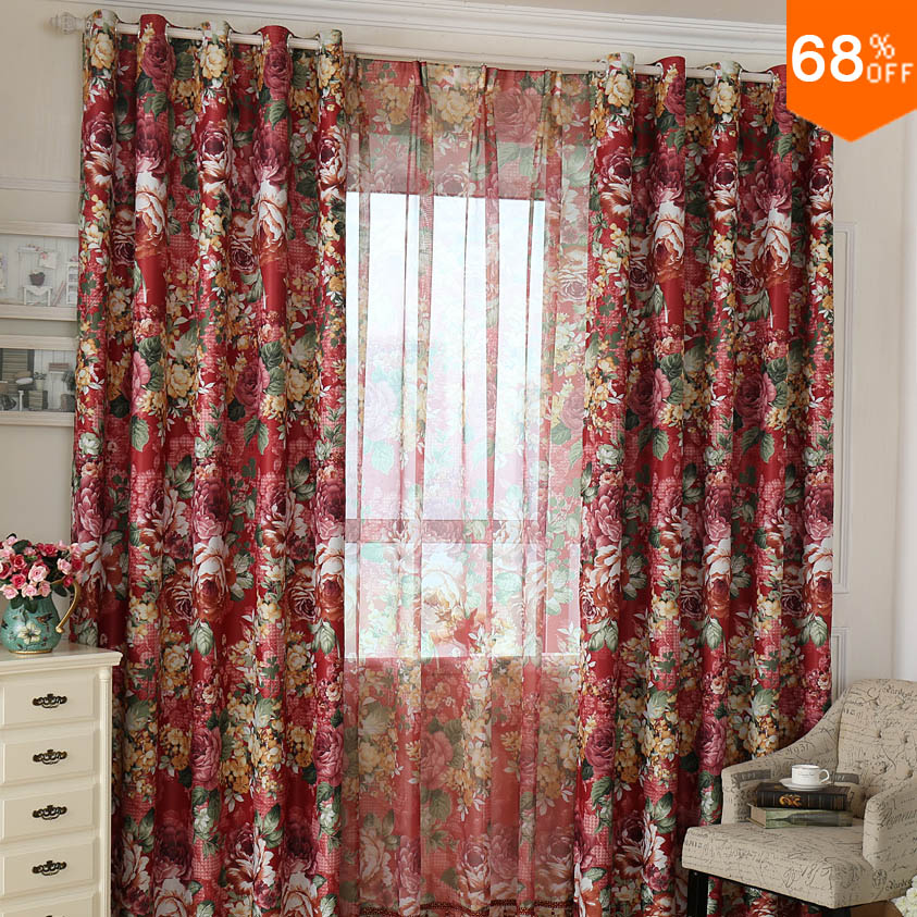 2017 Red Lace Curtain Classic Fashion Best Quality Light Luxury Print Plant Color Flowers Big