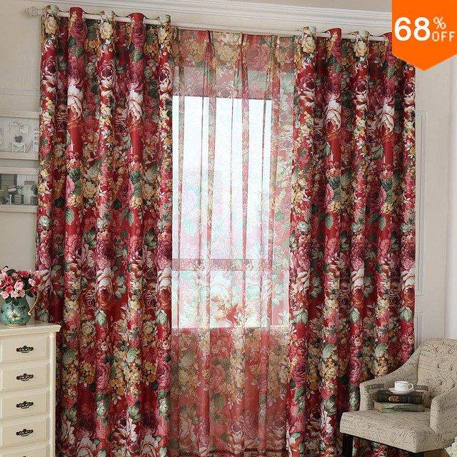 High Quality 2017 Red Lace Curtain Classic Fashion Best Quality Light Luxury Print Plant  Color Flowers Big Rose
