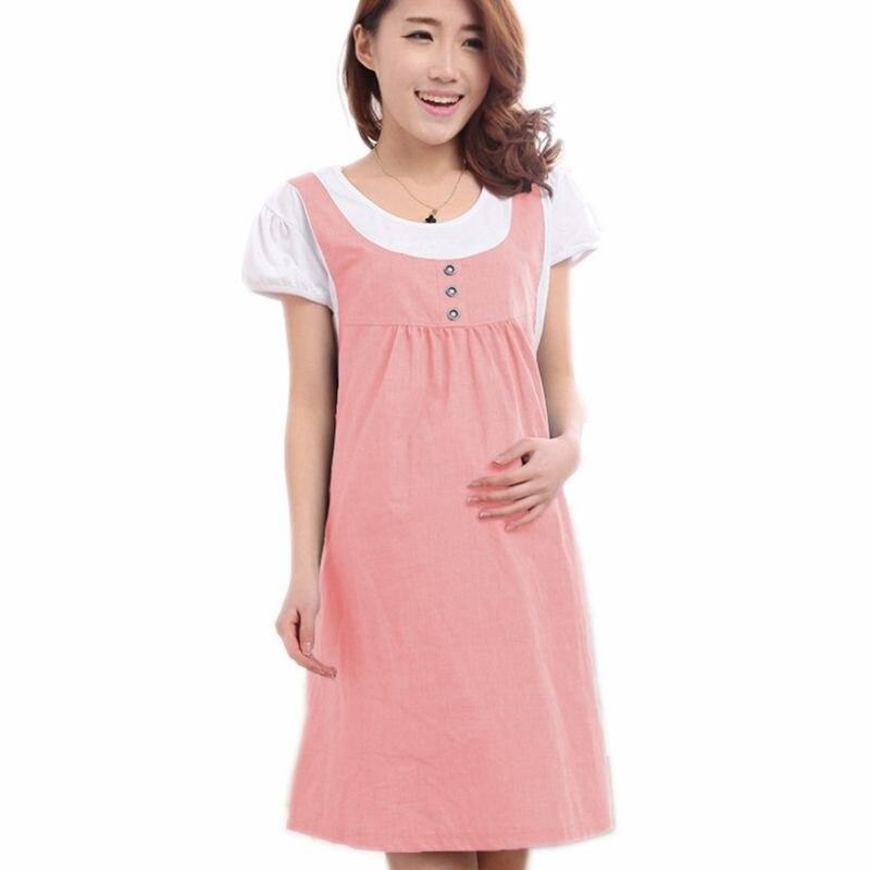 734906351 Ropa de maternidad de las mujeres de verano de manga corta Patchwork Plus  tamaño vestido Casual