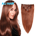 Clip en extensiones de cabello remy 16-22 pulgadas 1 Unidades barato larga recta resistencia al calor extensiones de cabello 33 # ali hair pieces