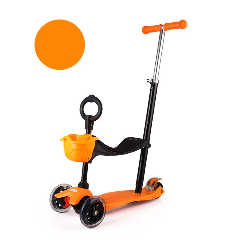 Childrens kick Scooter PU 4Wheels Flashing LED Outdoor Toy 2-16years old Bodybuilding disassembly Plastic height Adjustable