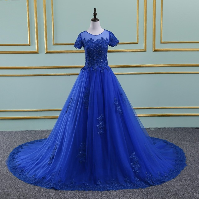 Vinca Sunny New Royal Blue Evening Dress Lace Applique Robe De