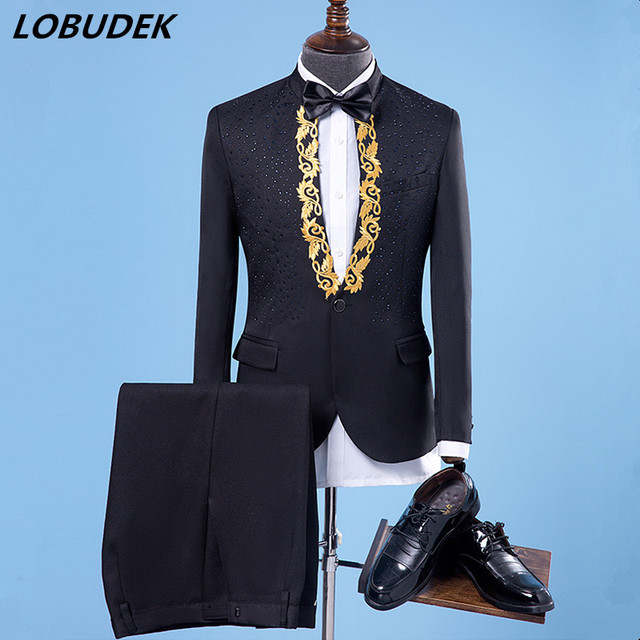 Men's Autumn Winter Suit costumes Crystals Embroidery suits Prom party singer stage performance clothes Host Wedding dresses
