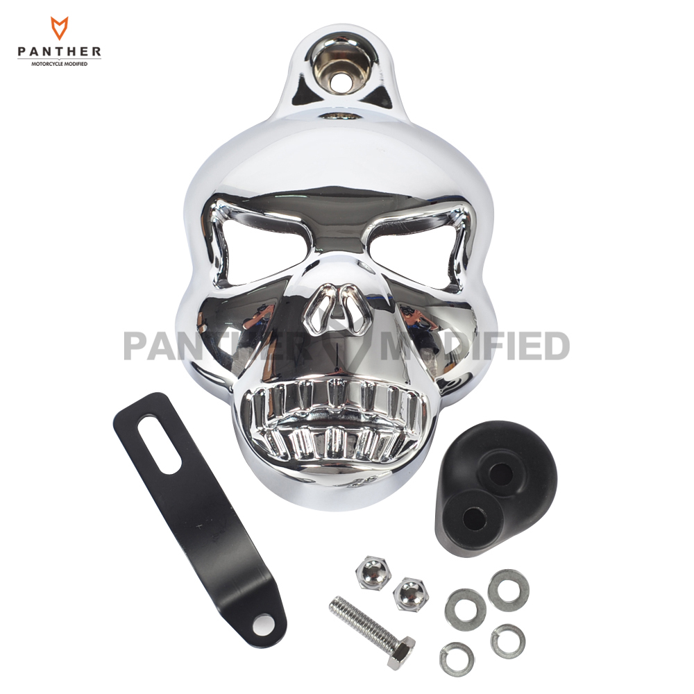 Black Motorcycle accessories Skull Horn Cover Cowbell case for Harley Davidson Dyna Glide Fat Bob Street Bob 1992-2013 chrome motorcycle v shield horn cover set case for harley big twins evo 1992 2012 twin cam 1988 gg